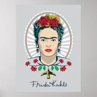 Frida Kahlo   Vintage Bloemen Poster