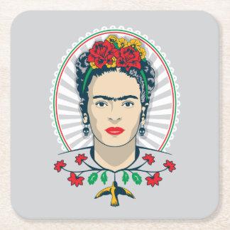Frida Kahlo | Vintage Bloemen Vierkante Onderzetter