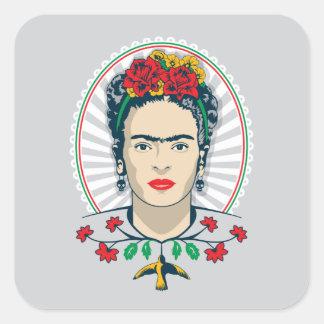 Frida Kahlo   Vintage Bloemen Vierkante Sticker