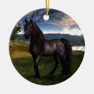 Friesian Art. van de Douane van het Paard Rond Keramisch Ornament