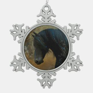Friesian Ornament van Kerstmis van het Paard Tin Sneeuwvlok Ornament