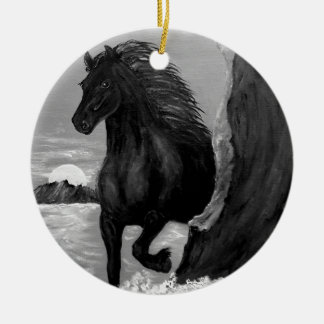 Friesian Paard in de Branding Rond Keramisch Ornament