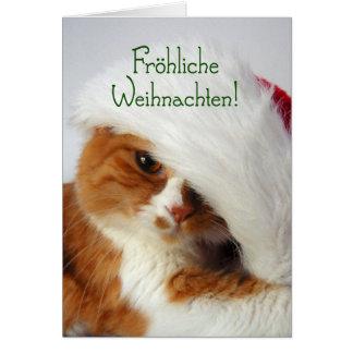 Fröhliche Weihnachten - Kat in het Pet van de Kaart