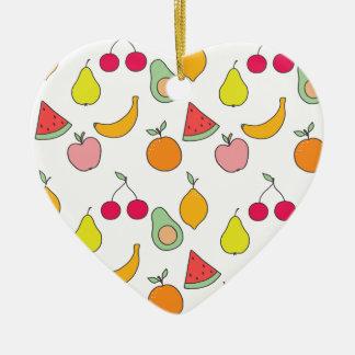 fruit patroon keramisch hart ornament