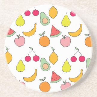 fruit patroon zandsteen onderzetter