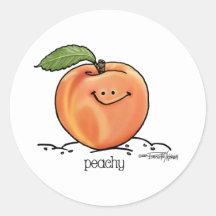 Fruitige Perzik - Cartoon Ronde Stickers
