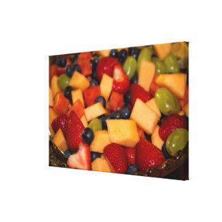 Fruitsalade met de Druiven van de Bosbessen van Canvas Afdruk