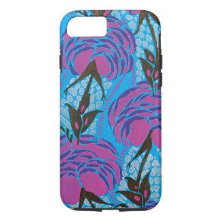 Fuchsiakleurig en paarse art decobloemen iPhone 7 hoesje