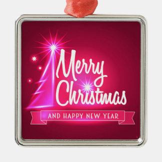 Fuchsiakleurig Kerstmis Zilverkleurig Vierkant Ornament
