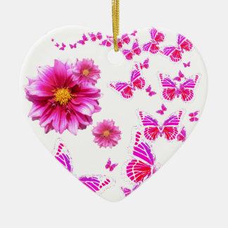 Fuchsiakleurig Roze Dahlia & het witte Patroon van Keramisch Hart Ornament