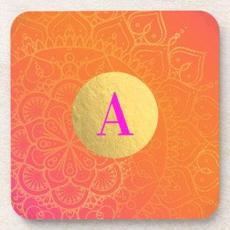 Fuchsiakleurig Roze Oranje & Gouden Indische Drankjes Onderzetters