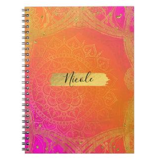 Fuchsiakleurig Roze Oranje & Gouden Indische Notitieboek