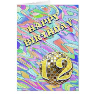 Funky abstracte 12 verjaardagskaart kaart