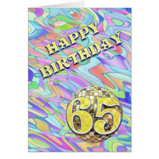 Funky abstracte 65 verjaardagskaart wenskaart