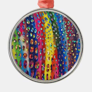 Funky Artistieke Patroon van de Huid van de Slang Zilverkleurig Rond Ornament