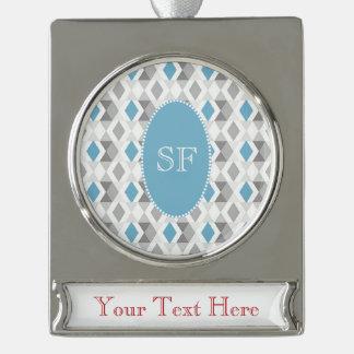 Funky Blauwe Grijze Monogram van de Diamant Verzilverd Banner Ornament