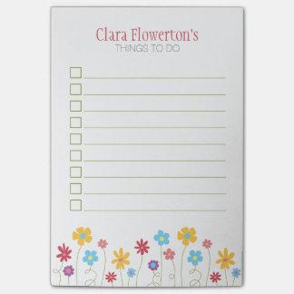 Funky Bloemen van de Lente om Lijst te doen Post-it® Notes