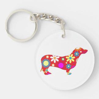 Funky de hond van de tekkel, retro, bloemen, bloem sleutelhanger