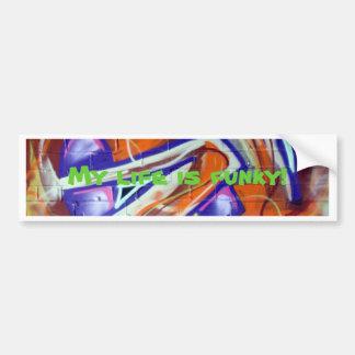 funky design en de slogans van wereldgraffiti bumpersticker