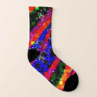 funky geometrische regenboogvierkanten sokken