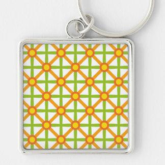 Funky Groen & Oranje Patroon Sleutelhanger