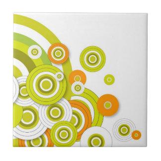 Funky groene cirkels en sinaasappel aangepaste pro keramisch tegeltje