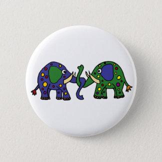 Funky Groene en Blauwe Bevlekte Olifanten Ronde Button 5,7 Cm
