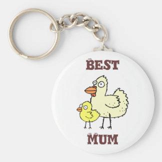 Funky Kip van het Boerderij + Kuiken Beste Mum! Ke Sleutelhanger