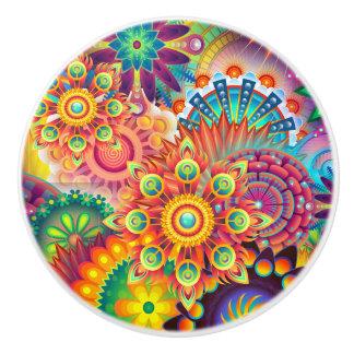 Funky Retro Boheemse Samenvatting van het Patroon Keramische Knop