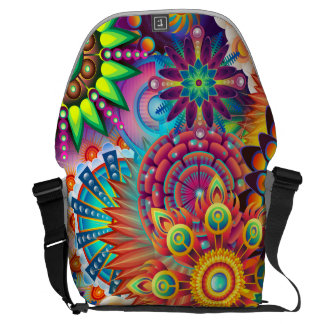 Funky Retro Boheemse Samenvatting van het Patroon Messenger Bag