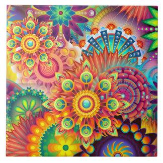 Funky Retro Boheemse Samenvatting van het Patroon Tegeltje