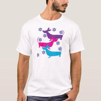 Funky retro foral basset t-shirt van hondenhonden