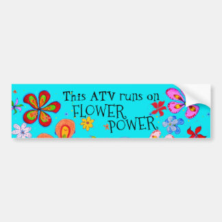 Funky Retro Looppas ATV op Flower power Bumpersticker