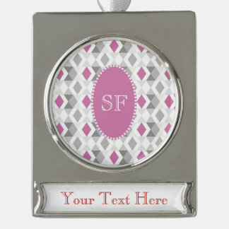 Funky Roze Grijze Monogram van de Diamant Verzilverd Banner Ornament