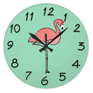 Funky Vintage Roze Blauw van de Flamingo Ronde Klok Large