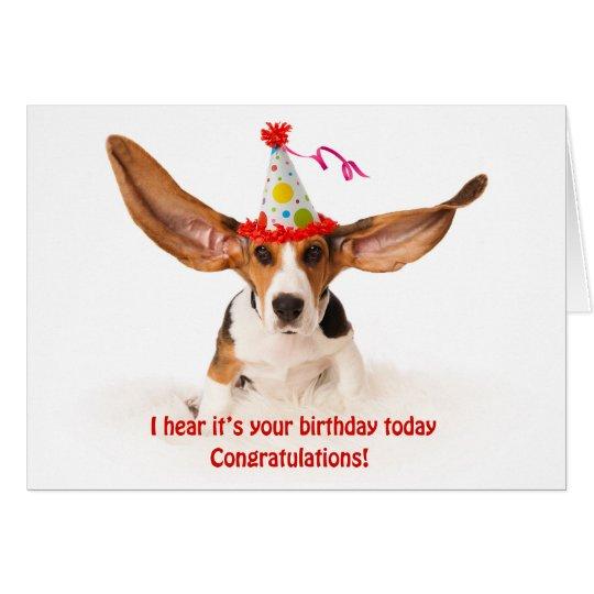 Funny birthday card Basset hound dog with big ears Kaart