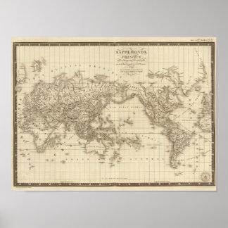 Fysieke wereldkaart poster