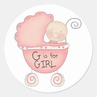 G is voor de Roze Kinderwagen van het Meisje Ronde Sticker