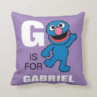 G is voor Grover | toevoegt Uw Naam Sierkussen