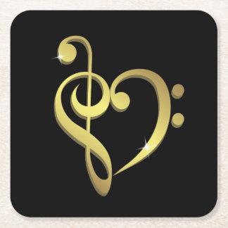 G-sleutel en bas het hartliefde van de vierkante onderzetter
