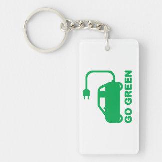 Ga de Groene Elektrische Auto's van de Aandrijving 2-Zijden Rechthoekige Acryl Sleutelhanger