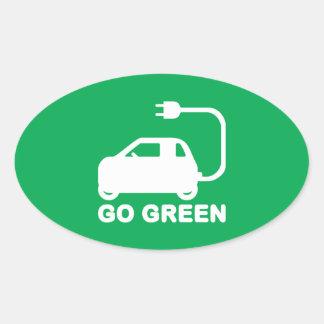 Ga de Groene Elektrische Auto's van de Aandrijving Ovaalvormige Stickers