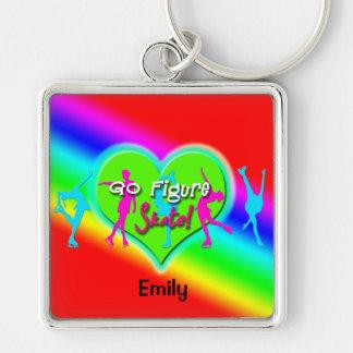 Ga de Regenboog Keychain van de Kunstschaats (Vier Zilverkleurige Vierkante Sleutelhanger