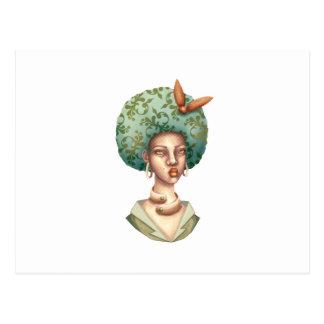Ga met voor - Dame met Groen Uniek Art. Afro Briefkaart