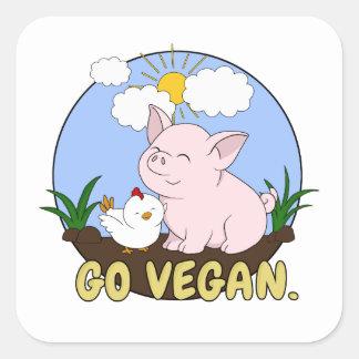 Ga Veganist - Leuke Varken en Kip Vierkante Sticker