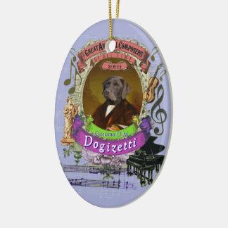 Gaetano Dogizetti Dog Animal Composer Donizetti Keramisch Ovaal Ornament