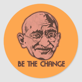 Gandhi is de Verandering Ronde Sticker