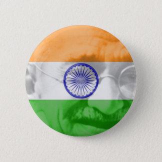 Gandhi op Indische Vlag Ronde Button 5,7 Cm