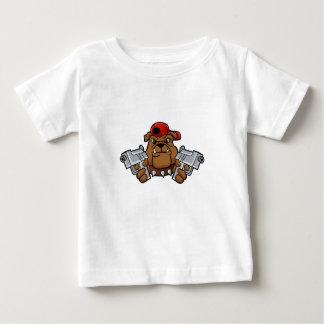 gangster buldog met pistolen baby t shirts