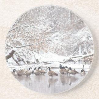 Ganzen in Sneeuw Zandsteen Onderzetter